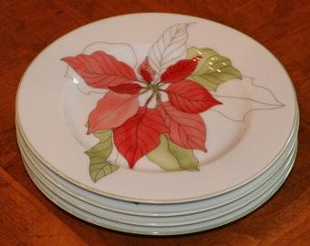 "Block China (Portugal) Artist-Designed ""Poinsettia"" Dessert Plates by Mary Lou Goertzen's Watercolor Series"