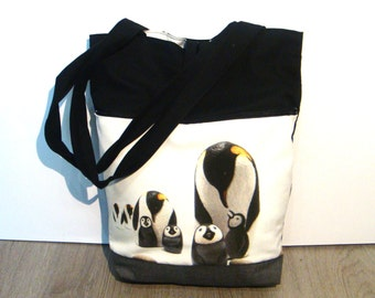 Emperor penguins black, white, hand made tote bag, painted rock photography, wearable art
