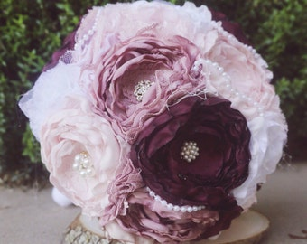 Blush fabric bouquet, dusty rose bride bouquet, brooch bouquet , burgundy and blush fabric bouquet