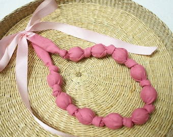 Fabric Necklace,Teething Necklace, Chomping Necklace, Nursing Necklace - Just Pink