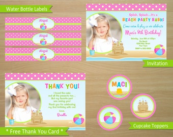 Beach Birthday Invitation and Party Package - Personalized Digital Files (Bonus Thank You Card)
