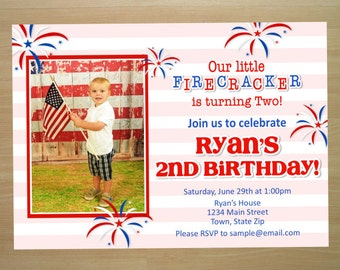 4th Of July Birthday Invitation - Digital File (Printing Available)