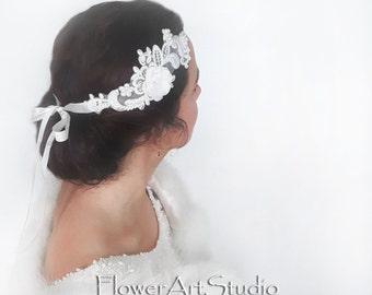 White Embroidered Lace headband, Feminine White Bridal Headpiece, Bridal Hair Accessories, White Wedding, Bridal Rhinestone Hairpiece.