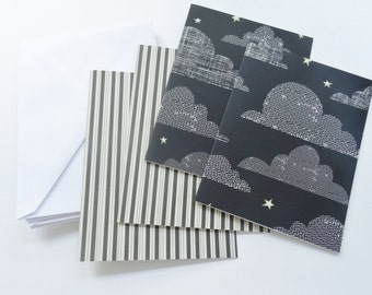 Contemporary Fall Note Cards, Black and White Cards, Clouds and Stars, Stripes, Blank Cards, Thank You Cards, All Occasion Cards, Set of 4