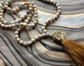 White Riverstone Mala Prayer Necklace with Amazonite, Tassel and Lotus