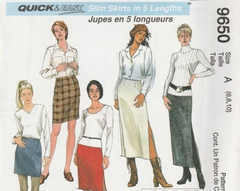 McCall's 9650 Size 6-8-10,  12-14-16 or 18-20-22 Slim Skirts in 5 Lengths Sewing Pattern 1998 Uncut