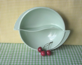 Boonton Melmac Serving Bowl - Divided Swirl - Mint Green Melamine - Mid Century Vintage  1960's