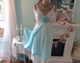 Fairytale Upcycled SlipDress Pixie Enchanting Romantic ~sale 40% off!!