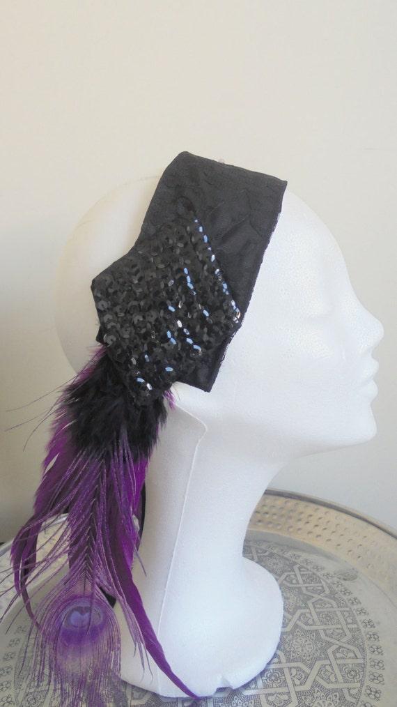 Tribal fusion bellydance purple black peacock feather headband - Gothic, cabaret, burlesque, gypsy headpiece - black pailette glitter