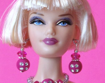 Barbie Doll JEWELRY - Pink Roses and Diamonds Jewelry Set fits Model Muse and more - by dolls4emma