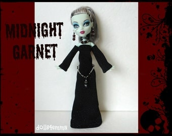 Monster High Doll Clothes - Medieval Goth GOWN + Skull BELT + Jewelry - Handmade Fashion - by dolls4emma