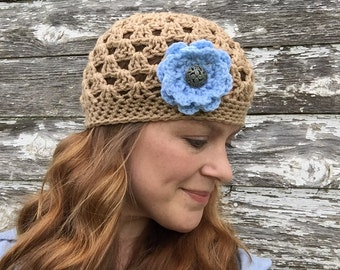 Ready to Ship - Tan Women's Beanie with Three Interchangeable Flowers - Light Brown Crocheted Hat with Three Flowers - Hat for Her