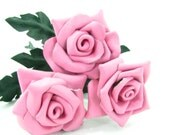 3 Pink Leather Roses Flower Bouquet  Long Stem Green Leather Wife/Girlfriend/Valentines Day Gift