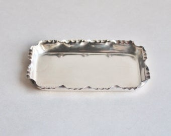 Antique Small Silver Plated Jewelry Tray
