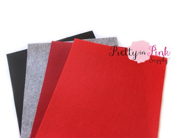 "DARKS 8"" x 11"" Felt Sheets- Felt Fabric Sheet - Crafting Felt - Woven Polyester Felt- You Choose Colors and Quantity"