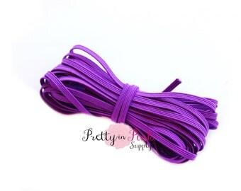 "Purple 1/8"" Skinny Elastic- 5 Yards or 10 Yards- Elastic by the Yard"