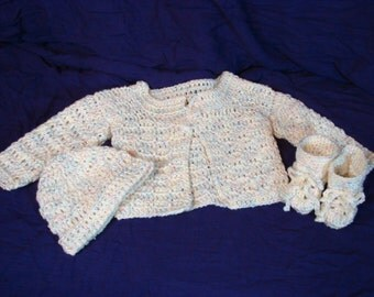 Crochet Adorable Baby Sweater Set in Light Yellow Multi Newborn Size Includes Hat and Booties