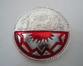 Leather Craft Supplies Southwest Conchos Screw Back Round Silver with Red Native American Design