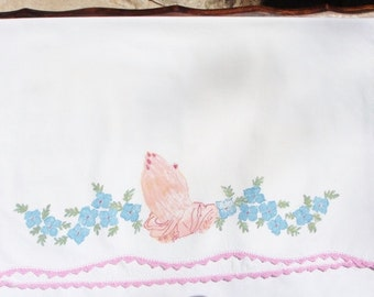 Vintage Standard Size Pillowcase Hand Painted and Crochet Trim