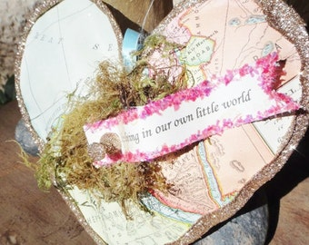 Stuffed Vintage Map Paper Heart Decoration