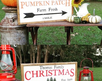 Double sided personalized pumpkin patch and Christmas tree farm
