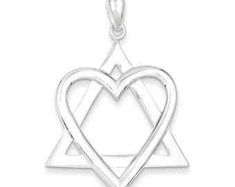 Sterling Silver Star of David Heart Pendant