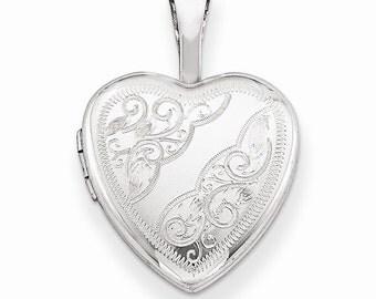 Sterling Silver Side Swirls 12mm Heart Locket