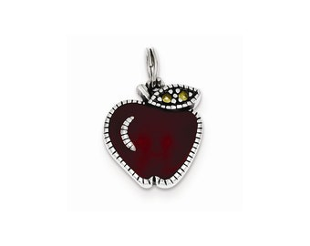 Sterling Silver Enameled Red Apple Charm