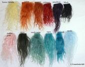 5 x 5 piece AMETHYST Tibetan Lambs wool ooak doll hair fairy mermaid making beautiful fur