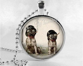 PUG DOG Necklace, Pugs Smoking Cigars, Pug Jewelry, Pug Pendant, Glass Photo Art Necklace, Steampunk, Steampunk Dog, Anthropomorphic