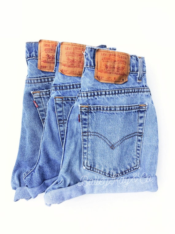 Levis High Waisted Denim Shorts Cheeky High Cut Hipster Shorts