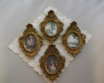 Group of Four Italian Rococo Style Pictures in Frames