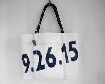 Wedding Date XLG Custom Recycled vintage sail cloth sea bag, tote, old sail bag