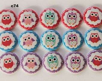 Cute Owl 1 inch flat back, pin backs, or hollow buttons and bottle caps, scrapbooking, crafts, bow centers- set of 15