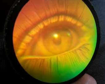 Vintage 1980s Opaque Glass Hologram Female Woman Eye Eyelashes
