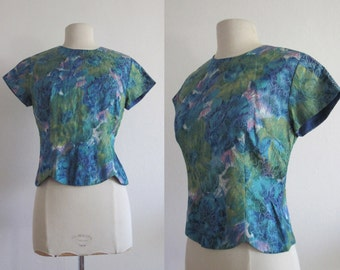 1950s Mermaid Blouse / Sea Blue Green Silk Brocade / Vintage 50s Blouse