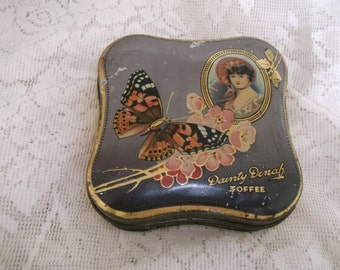 Dainty Dinah Toffee Tin with Butterfly England