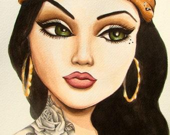 "Chola portrait with rose tattoo art print ""La Green Eyes"""