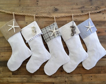 Christmas Stocking Set - Linen Look Stockings -Set of 5 - Family Stockings, Neutral Stockings, Beach Stockings