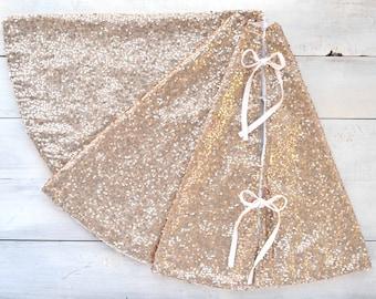 Tree Skirt with Champagne Sequins and Velveteen - Reversible, Gold Tree Skirt, Christmas Tree Skirt