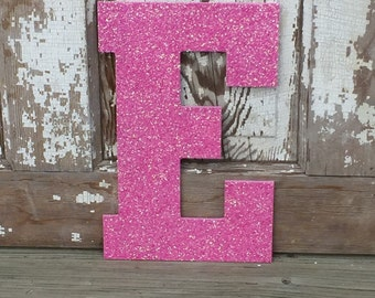 """Decorative 13"""" Pink Glitter Wall Letters, Girls Bedroom Decor, Home Decor, Wedding Reception Decorations"""