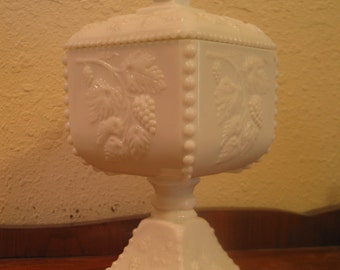 Westmoreland Footed Candy Dish Milk Glass Beaded Grape