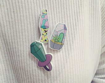 Set of 3 Retro Brooch Collection