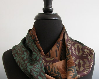Sally Jones Prints Pieced into Charmeuse Silk Infinity Scarf