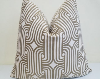Olive Green Sunbrella Pillow cover - Green Sunbrella for Indoor-Outdoor- Sunbrella cushion-  Sunbrella Geometric Pattern