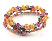 Bright Orange and Magenta Stackable Stretch Bracelets - Set of Three Stretch Bracelets