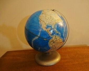 Vintage Rand McNally Globe - International Globe - Colorful Topographical Relief  Desk Globe - 12 Inch