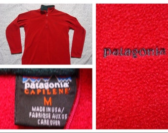 Vintage Retro Men's 90's Patagonia Fleece Jacket Red Green Capilene Quarter Zip Made in the USA Medium