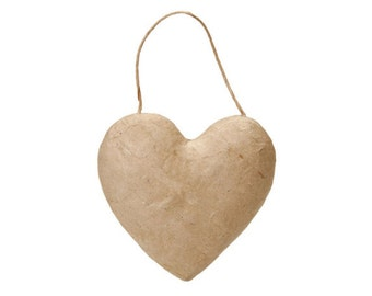 Paper Mache Puffy Heart with String Ornament - 5.5 Inch - Valentine's Day Craft Supplies