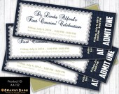 Denim and Diamond Event Ticket Custom Invitation - Digital File OR Printed Invitations - Event Ticket Party Invitation - Product ID AA152